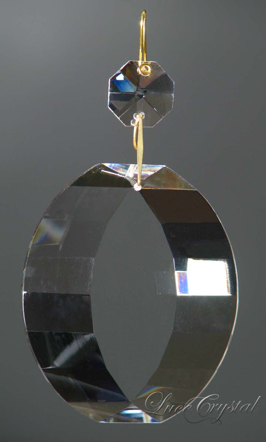 Faceted Oval Clear Crystal 63mm with Octagon