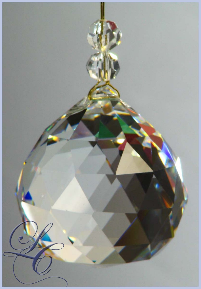Crystal Ball 2 cm with 2 Beads