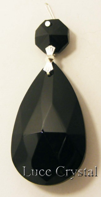 Jet Black Pearshape 2""