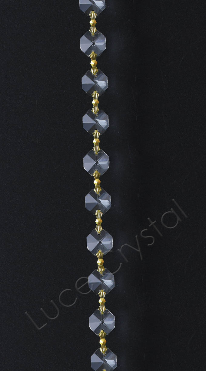 Crystal Chain 14mm Octagon with Bowties 8""
