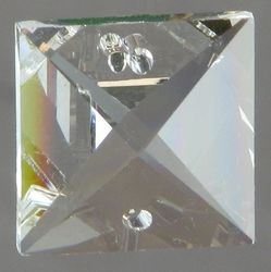 Clear Square Cut Crystal 2-Hole 16 mm
