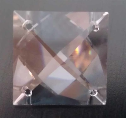 Clear Square Cut Crystal 4-Holes 22 mm
